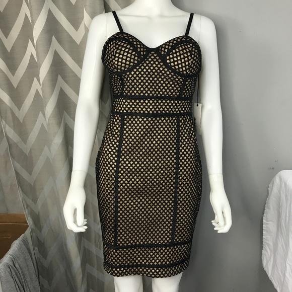 de804799c97f Haute Monde Gold and Black Body Con Glitter Dress